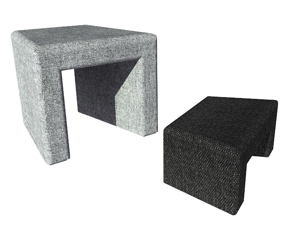 REX ARC harmaa ja musta jakkara, Large ja Small.